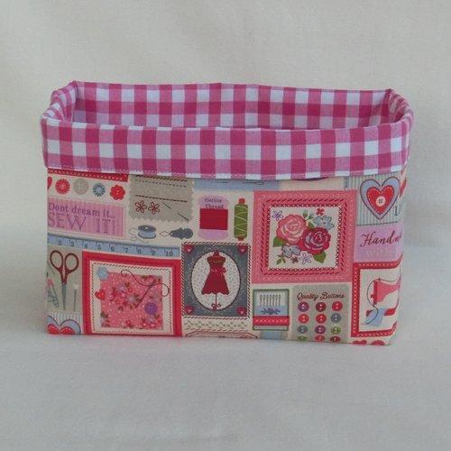 Corbeille réversible tissu motif couture, panier pour rangement accessoires de couturière ou tricoteuse, cadeau fête des mères