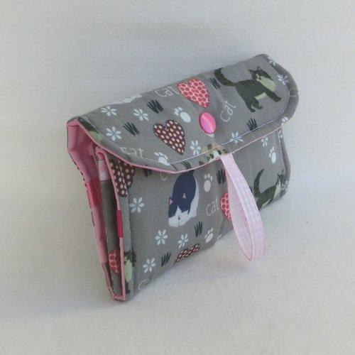Pochette nomade à barrettes pour enfant fille, tissu coton chat, rangement à élastiques et chouchou de cheveux, etui à suspendre