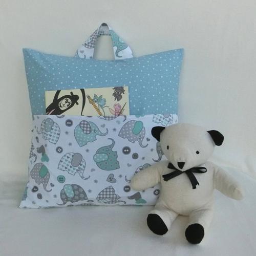 Coussin de lecture ou range pyjama, tissu éléphant et pois, housse de coussin carré déhoussable, accessoire chambre d'enfant ou bébé