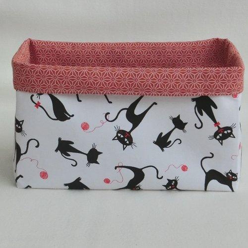 Panier réversible tissu coton chat noir, corbeille rangement accessoire de toilette ou animaux, cadeau femme fête des mères