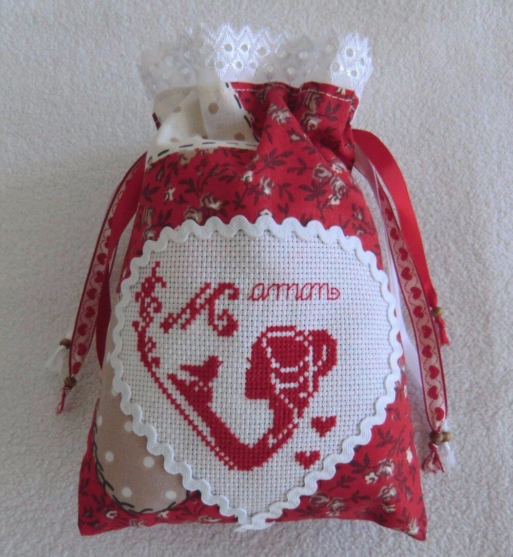 Sac Pochon Emballage Cadeau, Pochette à bijoux en Tissu Coton, Broderie fait main, Cadeau Femme fête des mères