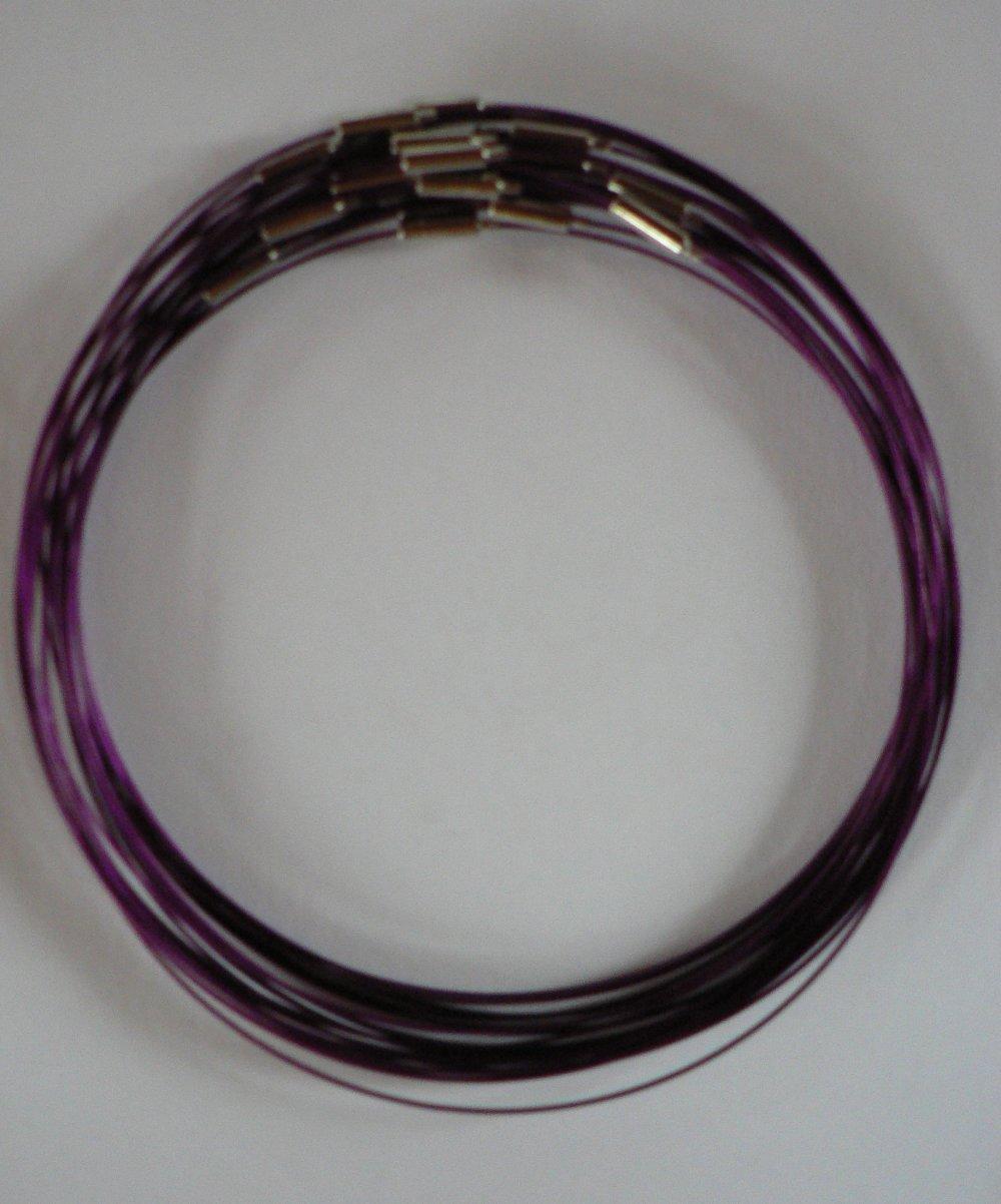 5 Colliers Tour de Cou Câble Acier gainé Violet.