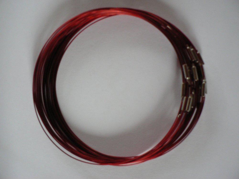 5 Colliers Tour de Cou Câble Acier gainé Rouge.