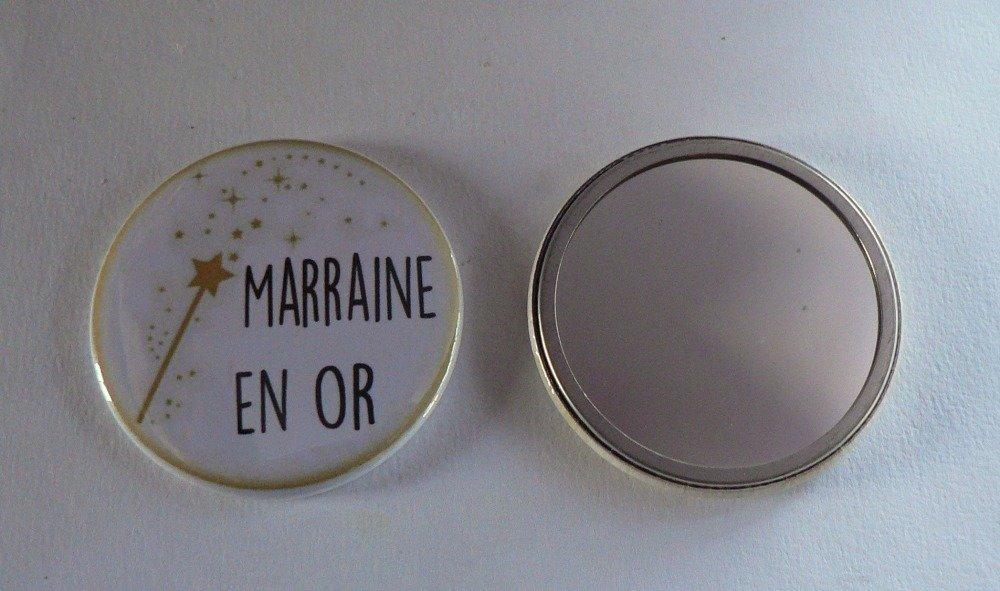 Duo Cadeau Parrain Marraine en Or Décapsuleur Porte Clés Miroir de Poche.