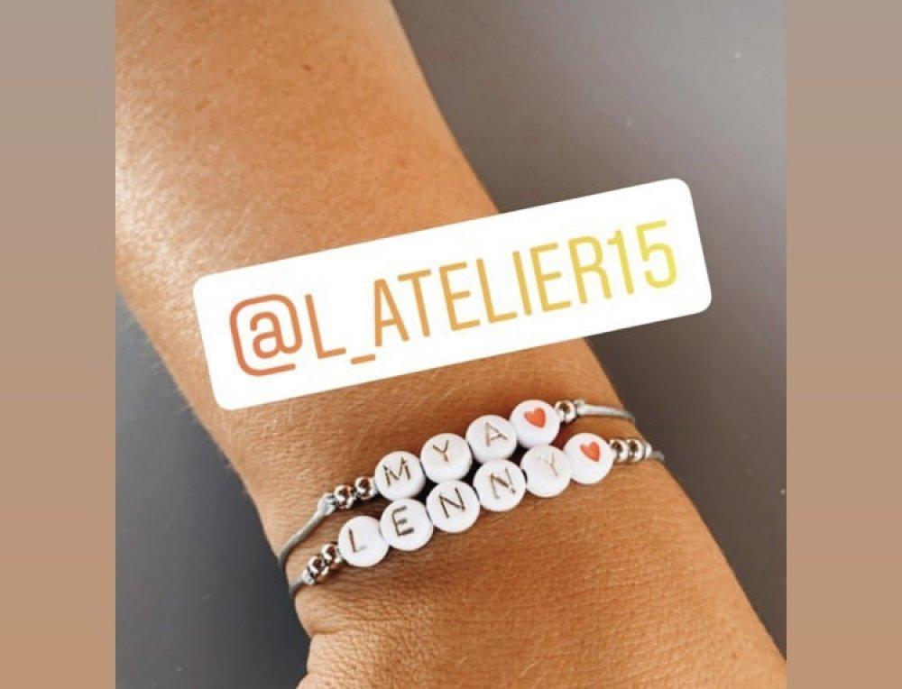 2 Bracelets à personnaliser perles écriture argenté