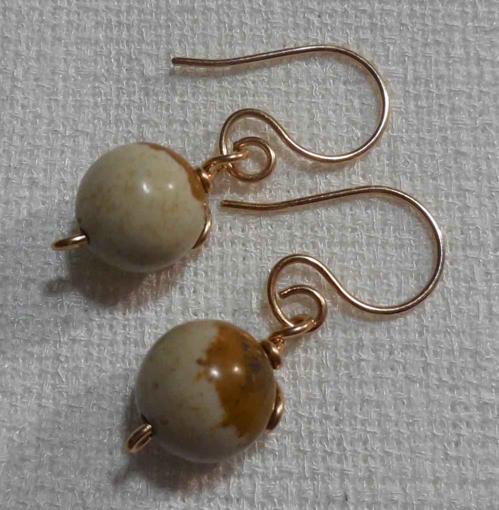 Boucles d'oreilles en Jaspe Paysage et Bronze