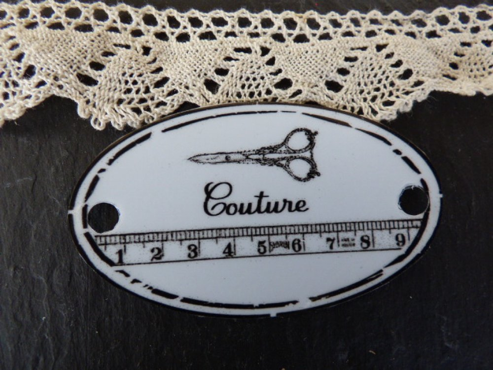 """étiquette métal """" Couture """" ovale"""