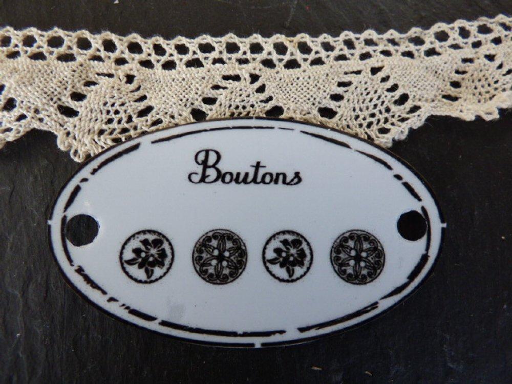 """étiquette métal """" Boutons"""" ovale"""