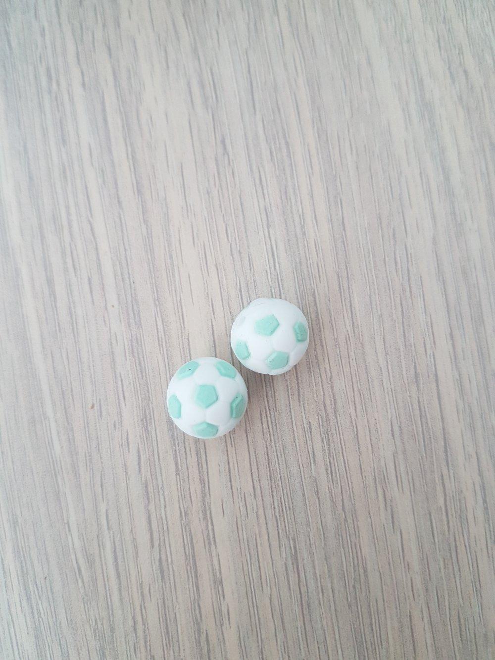 2 perles silicone vert menthe/blanc forme ballon
