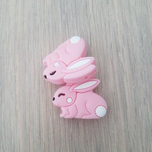 Perles en silicone lapin rose
