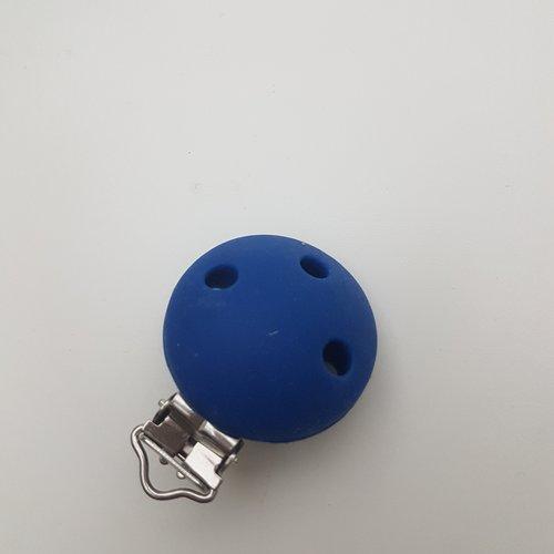 Clip attache tétine silicone rond bleu foncé