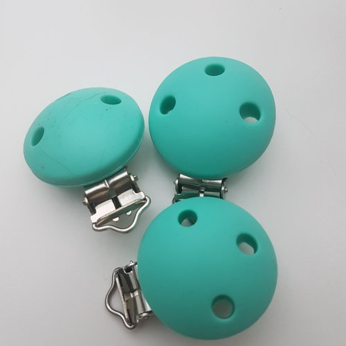 Clip attache tétine silicone rond turquoise
