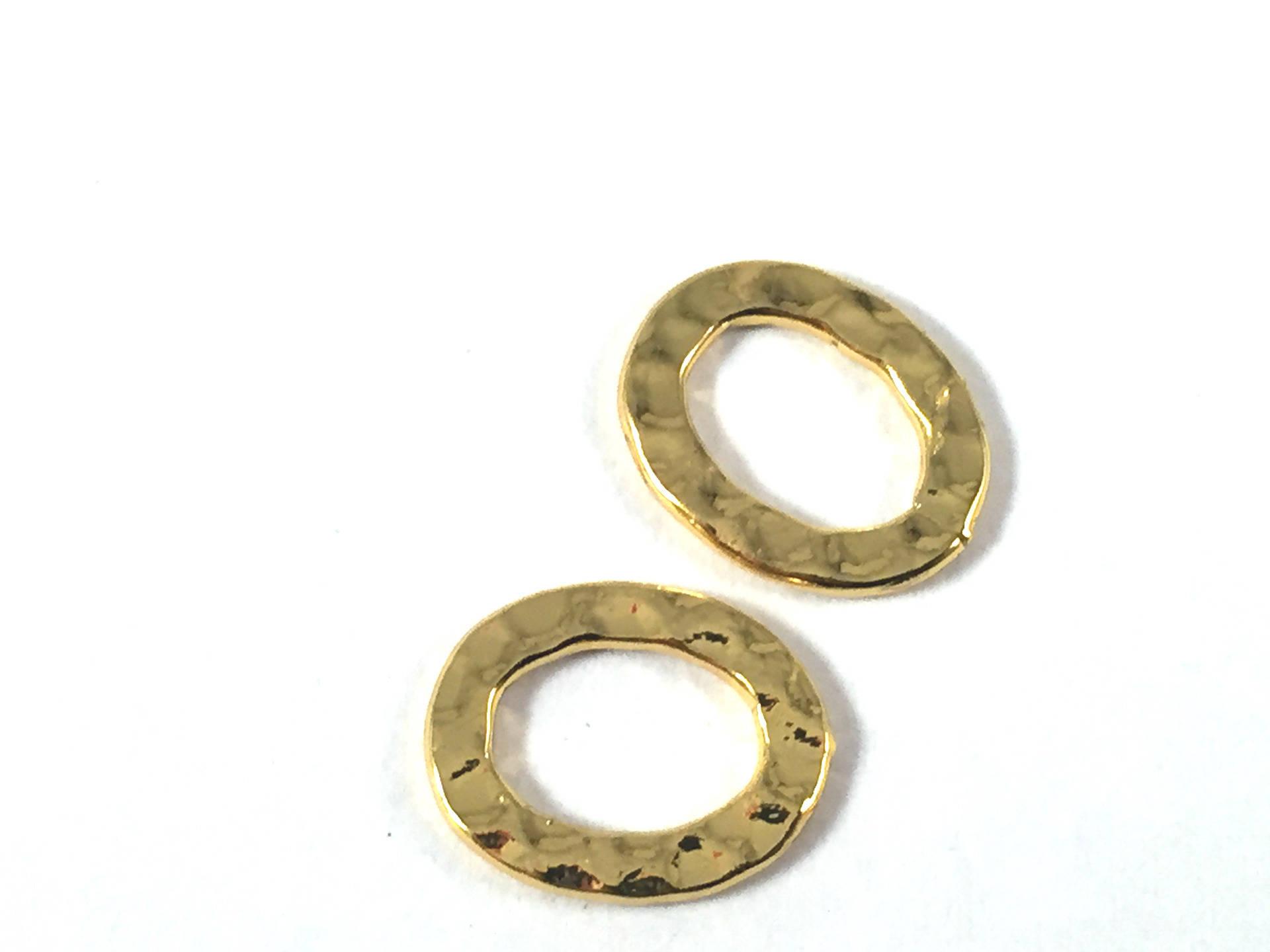 connecteur anneau ovale plat fermé martelé 12X10mm acier plaqué or, la pièce