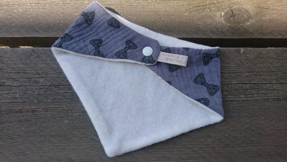 Bavoir bandana en double gaze coton et micro-éponge bambou certifiés Oeko-tex - gris foncé