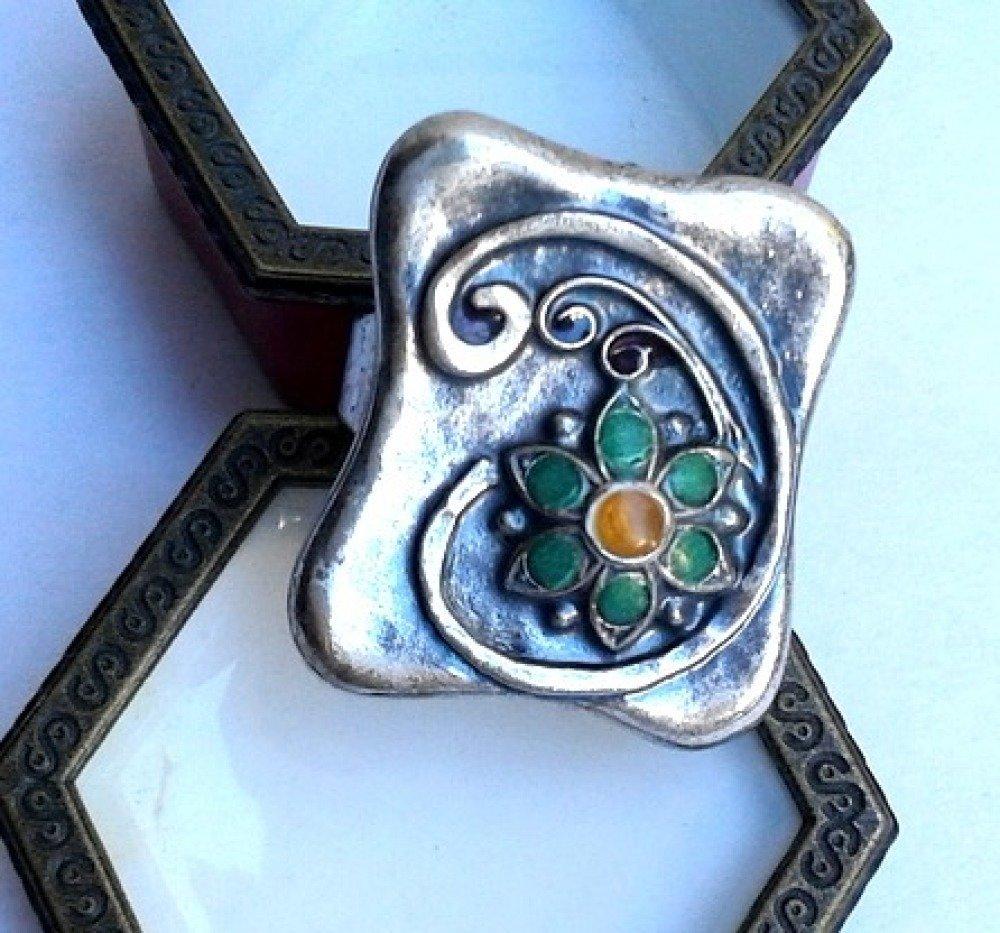 Bague artisanale style ethnique  argent motif fleur