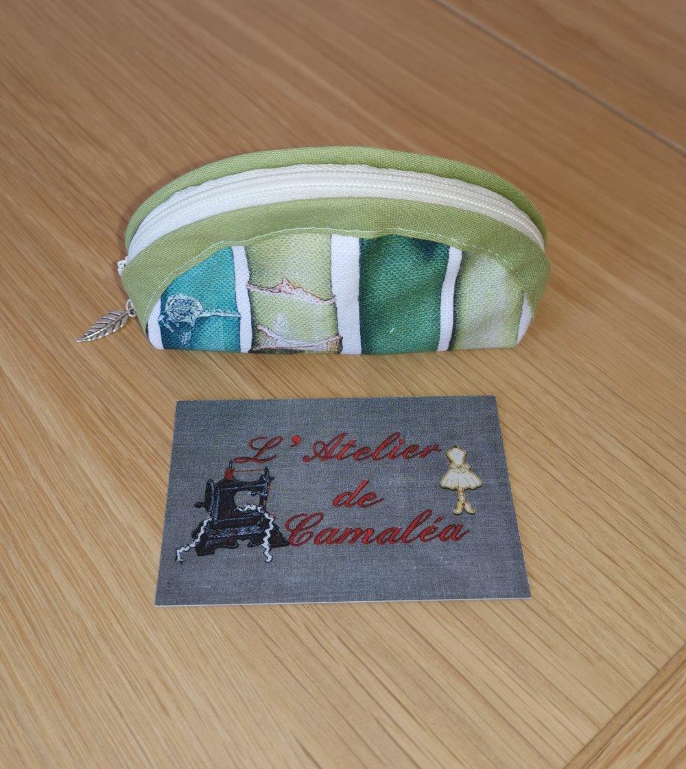 Porte monnaie Bambou, vert et écru, en coton
