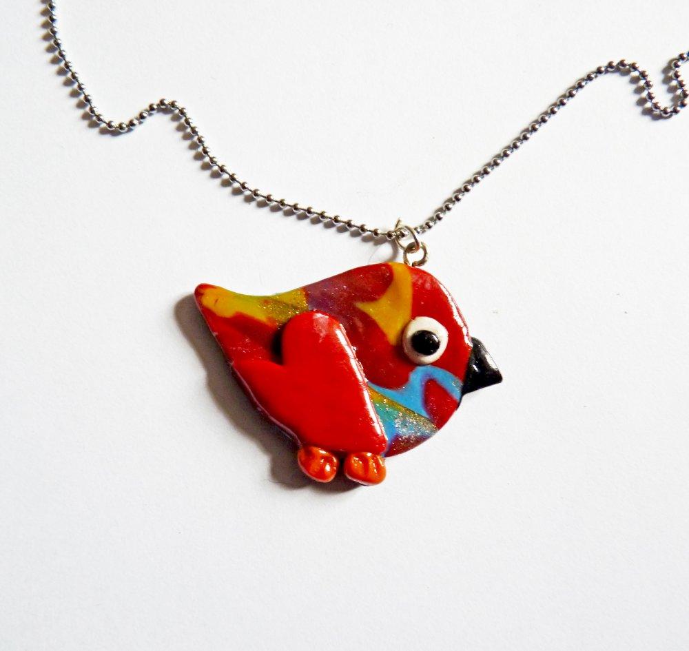 Collier enfant avec pendentif  oiseau en pâte polymère  multicolore