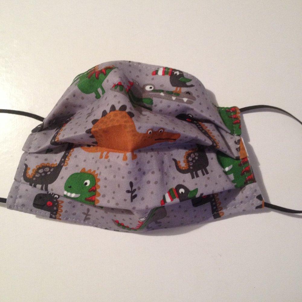 Masque barrière protection lavable dinosaures - enfant -