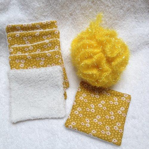 Lingettes + fleur de douche - jaune/moutarde -