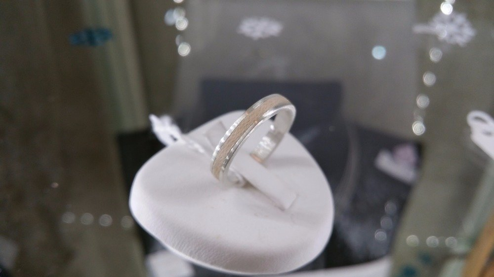 """1 alliances argent et bois , anneaux de mariage bois, alliance metal bois, modele """"cham seul"""" version hetre"""
