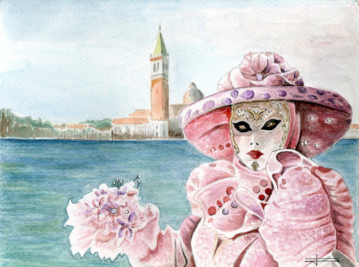 """REPRODUCTION de mon aquarelle originale : """"Costume de Carnaval de Venise , rose """""""