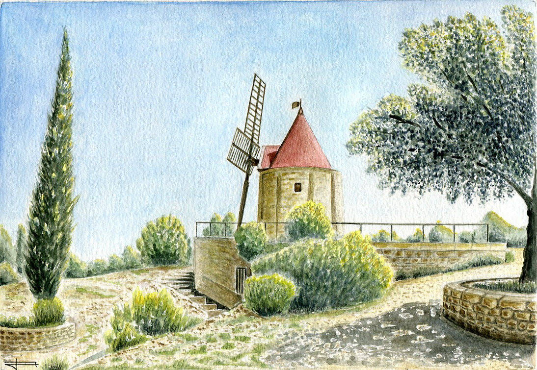 Reproduction de mon aquarelle originale intitulée : Le Moulin de Daudet à Fontvieille