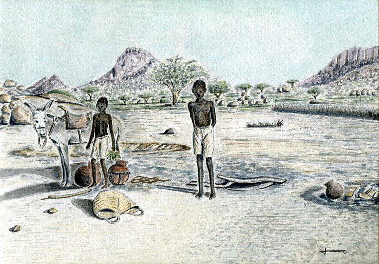 SPECIAL FIN D'ANNEE   Lot de 5 cartes doubles A6 , d'après mes aquarelles originales : Personnages d'Afrique .