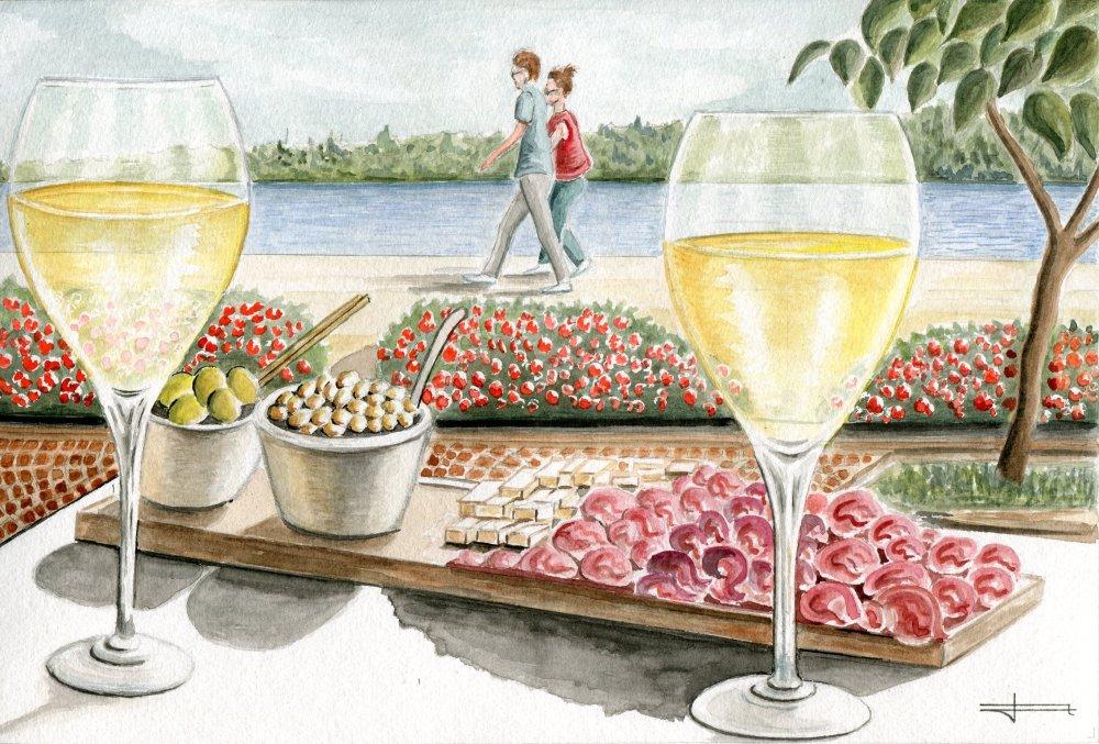 """Reproduction de mon aquarelle unique et originale :  """" Saint Valentin : Apéro au bord du Lac de Garde , Italie """""""