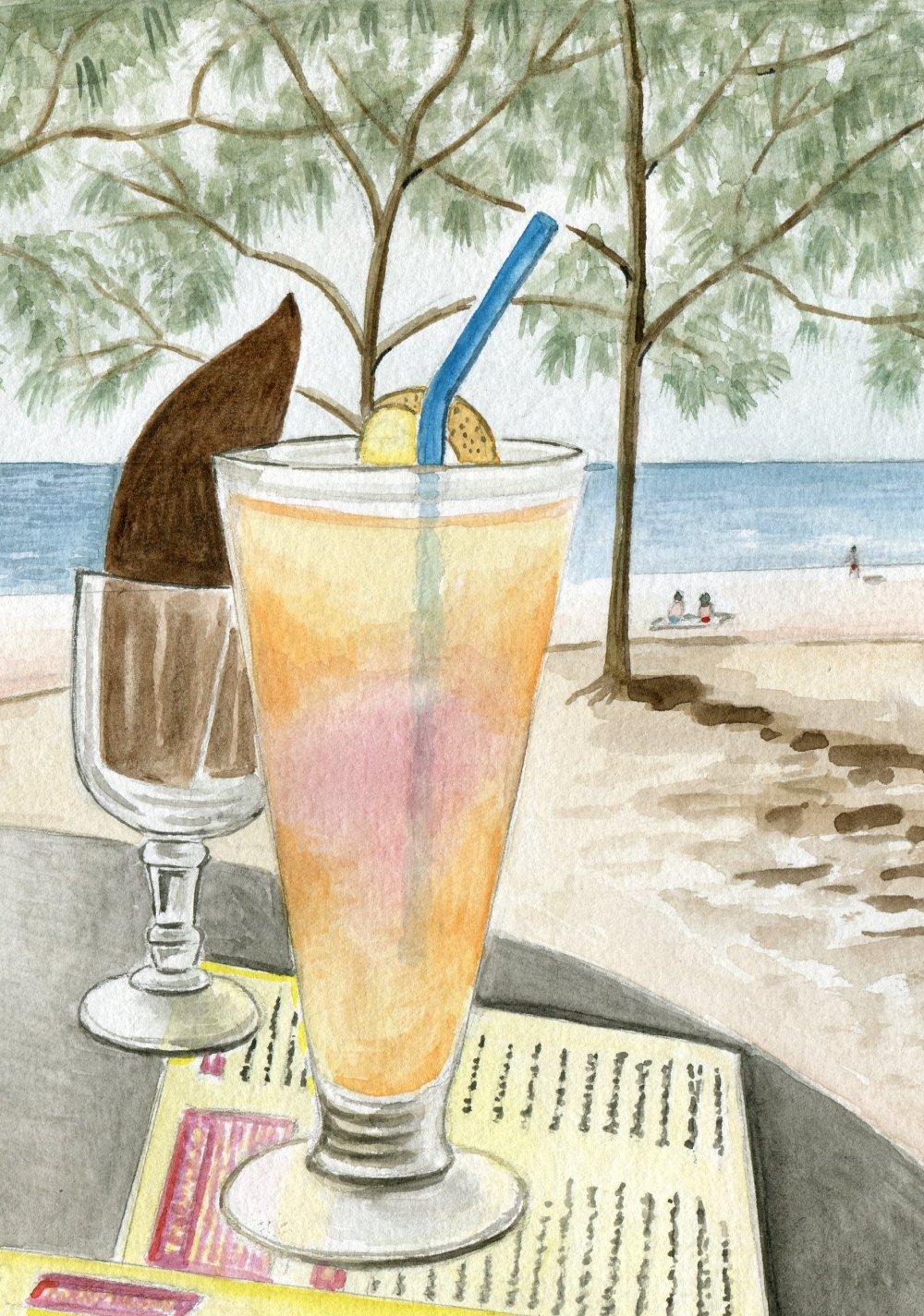 Reproduction de mon aquarelle unique et originale : Apéritif sur la plage de Boucan Canot , Île de la Réunion .  .