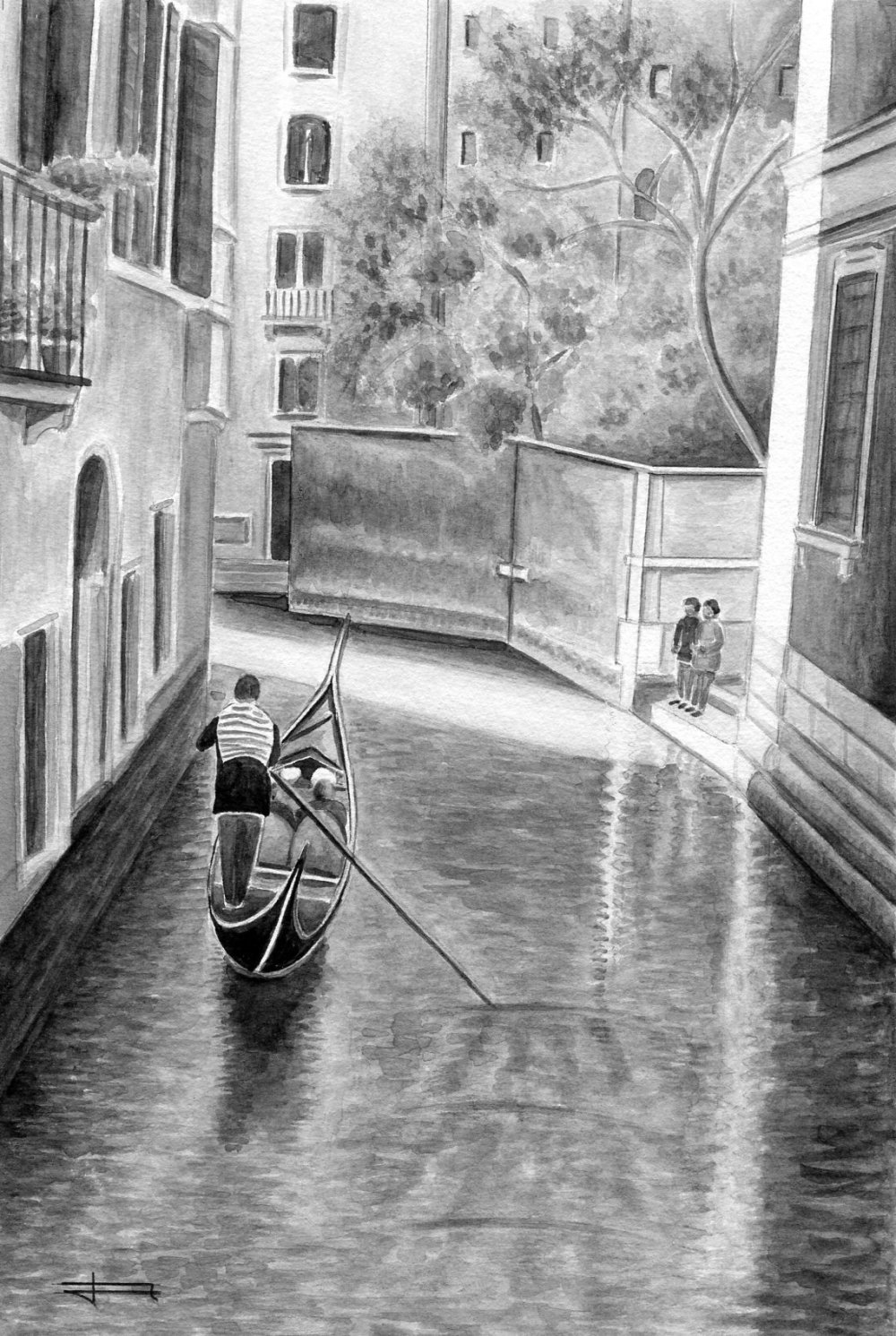 Reproduction de mon aquarelle unique et originale : Ombre et lumière à Venise !  .