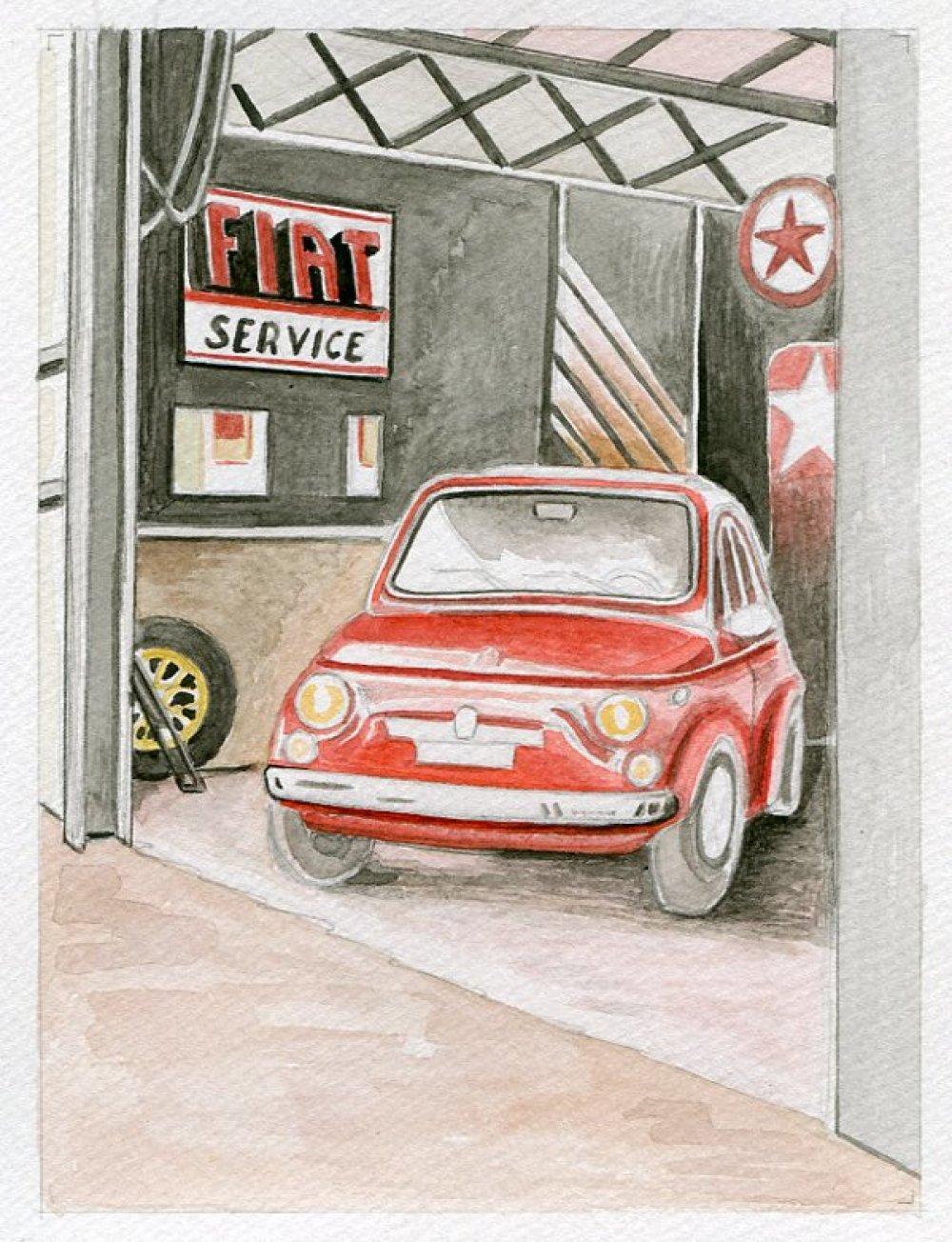 Reproduction de mon aquarelle unique et originale : Fiat 500 , ancienne  .