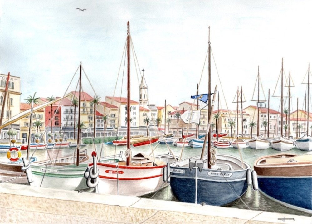 Reproduction Tirage D Art A4 Ou A3 De Mon Aquarelle Originale Et Unique Le Port De Sanary Sur Mer Cote D Azur Un Grand Marche