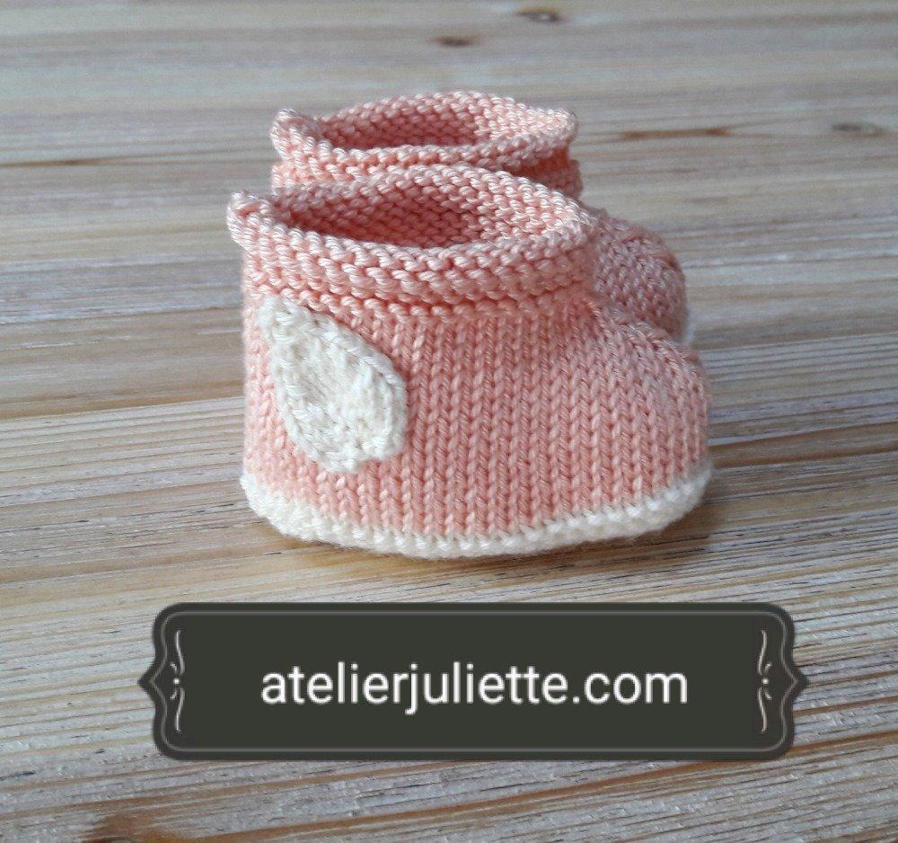 """Chaussons bébé """"Zéphyr"""" en coton roses"""