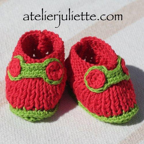 """Chaussons bébé """"bonzaï"""" rouges et verts"""