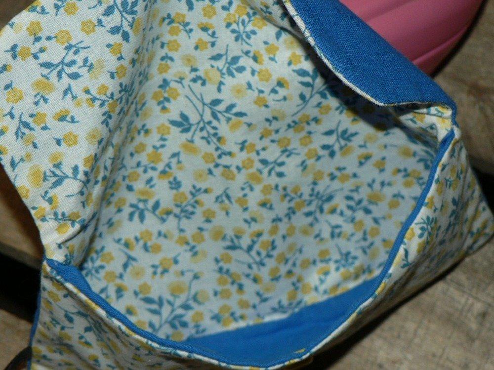 Petite trousse à pression en tissu - jaune et bleu - liberty