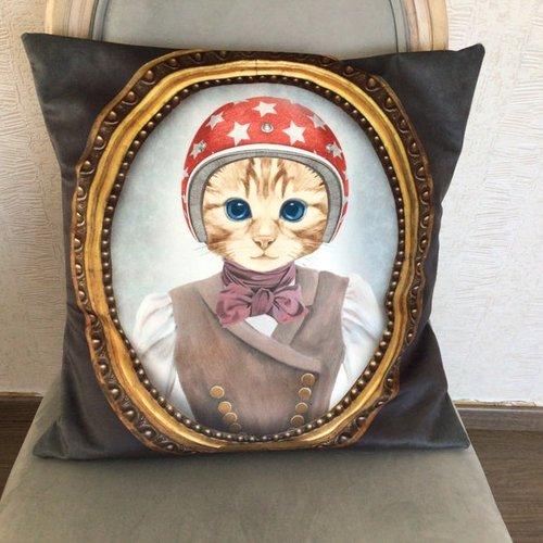 Housse de coussin, portrait chat costumé