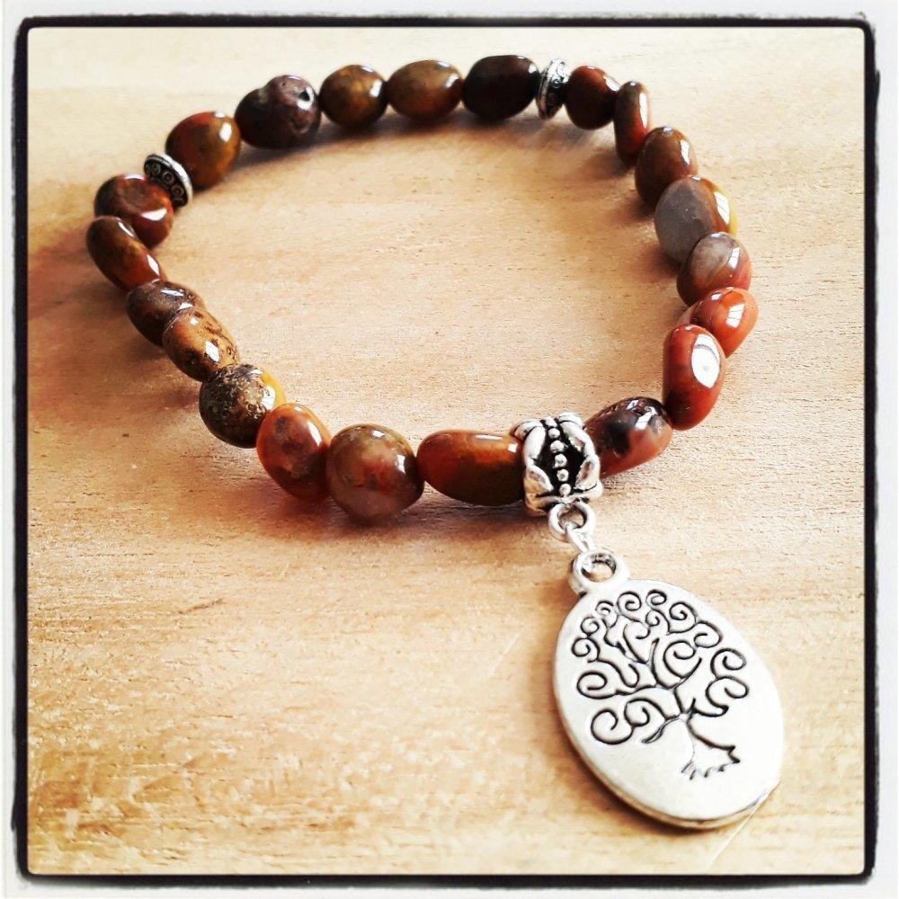 bracelet en pierre naturelle,en jaspe rouge et breloque arbre de vie