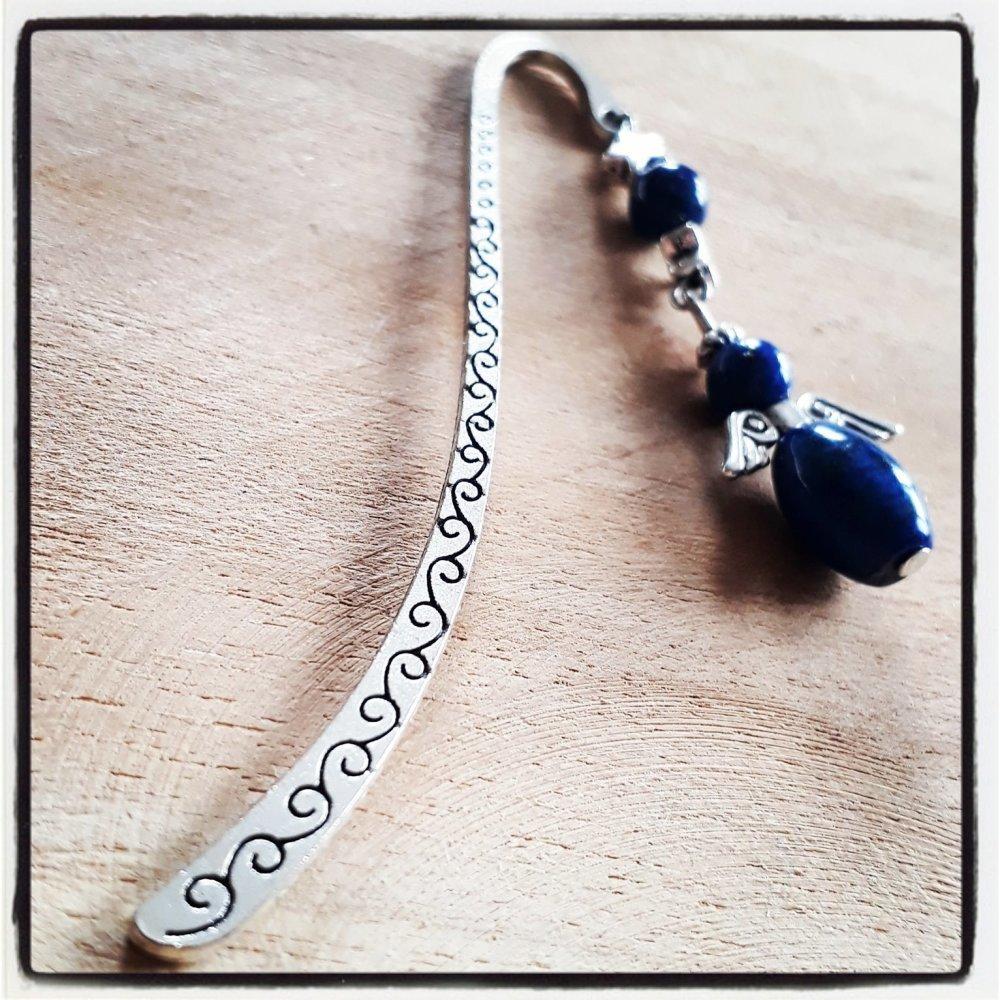 marque page argenté en pierre naturelle, breloque ange en lapis lazuli