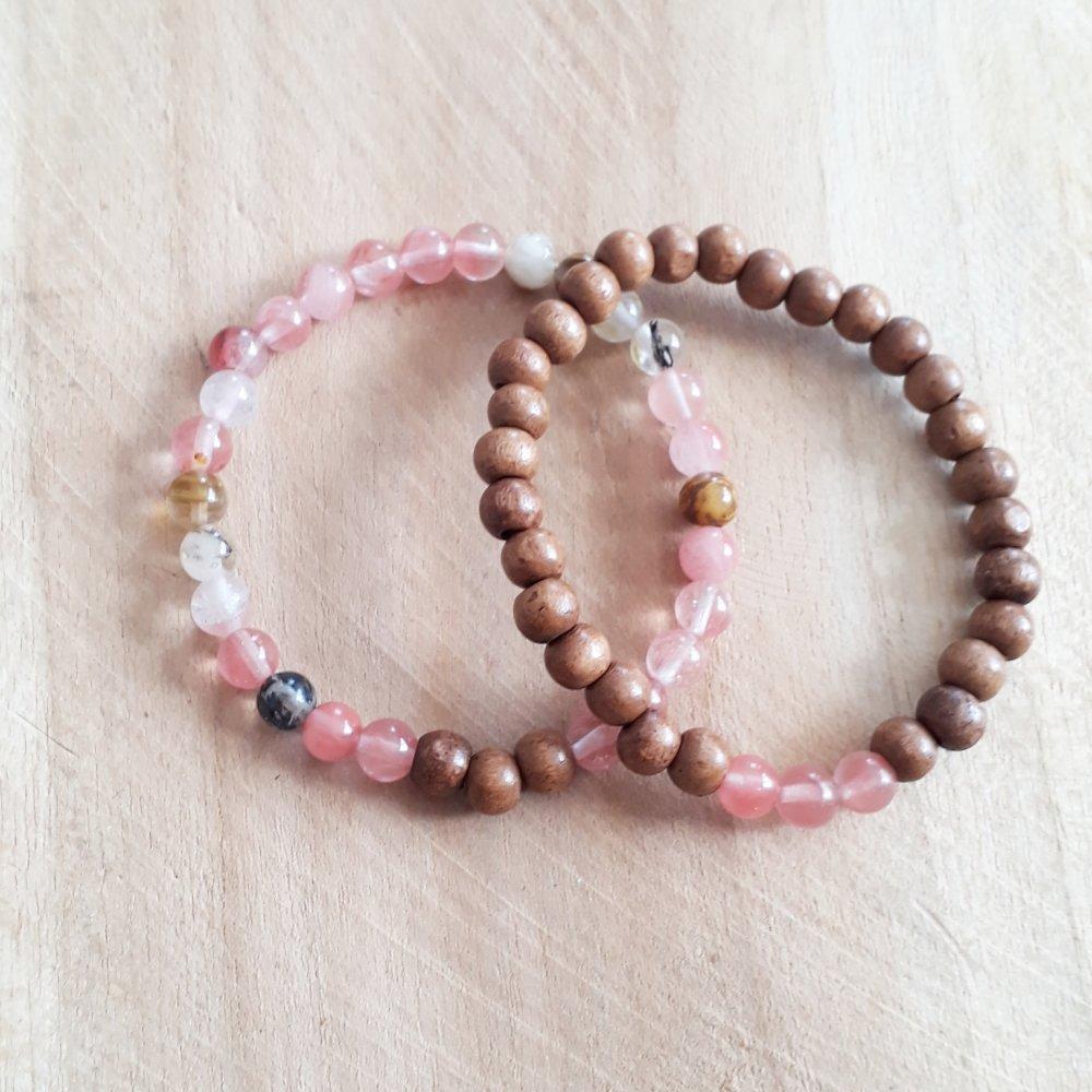 bracelet duo pour femme en pierres naturelle en quartz rose et de perles de bois