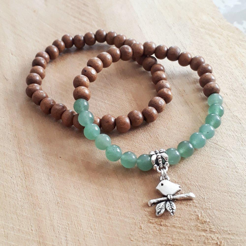 bracelet duo pour femme en pierres naturelle en jade, de perles de bois et breloque oiseau