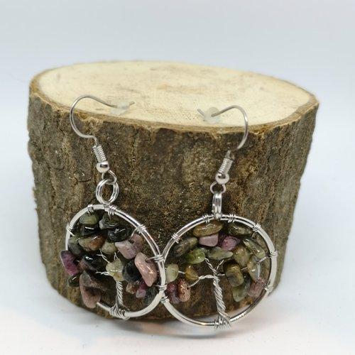 Boucles d'oreilles acier, arbre de vie en tourmaline