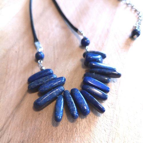Collier plastron en lapis lazuli, pierres naturelles