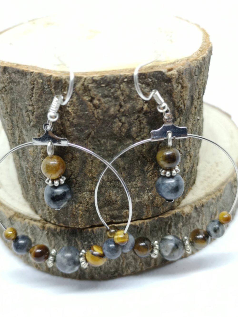 """boucles d'oreilles anneau argenté et pierres naturelles """"labradorite et oeil de tigre"""""""
