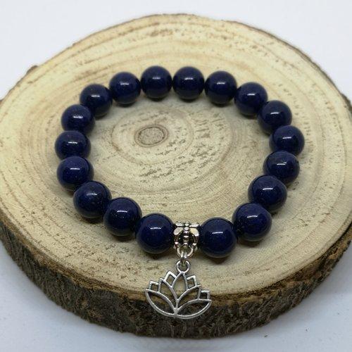 Bracelet femme en pierre naturelle, en lapis lazuli et breloque fleur de lotus