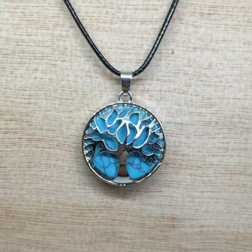 """Collier, pendentif arbre de vie, en pierre naturelle, en """"turquoise"""" sur cordon noir"""