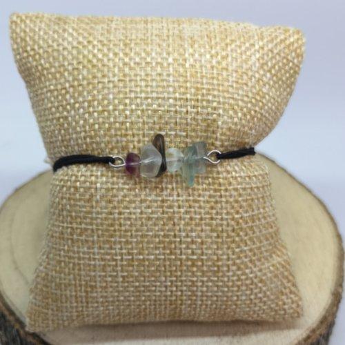 """Bracelet femme ou enfant en pierre naturelle, en """"fluorite"""" sur cordon élastique"""