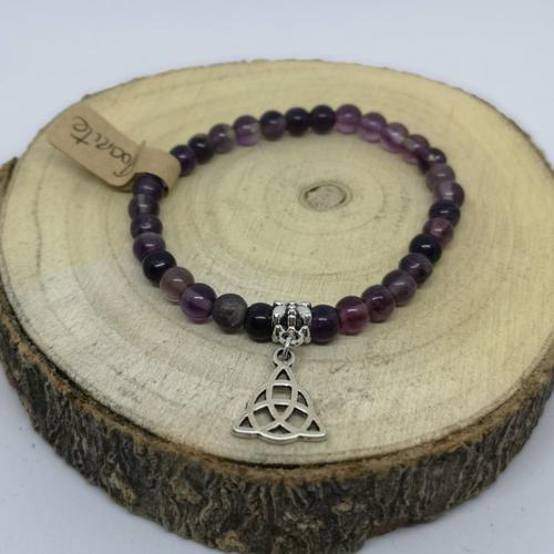 Bracelet femme en pierre naturelle, en fluorite et breloque celte