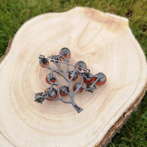 Broche arbre argenté en agate, pierres naturelles