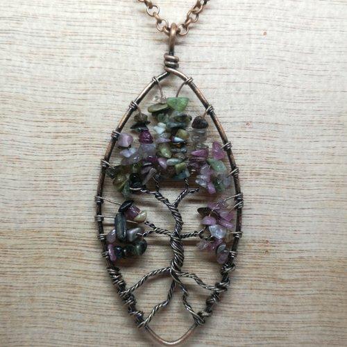 """Collier, pendentif arbre de vie, en pierre naturelle, en """"tourmaline"""" avec chaine cuivre"""