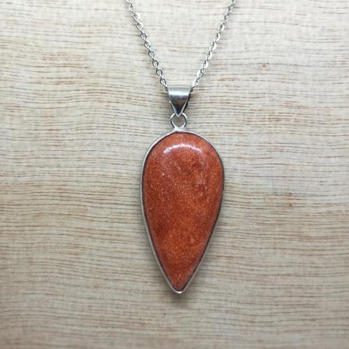 """Collier, pendentif, en pierre naturelle, en """"agate"""" avec chaine acier"""